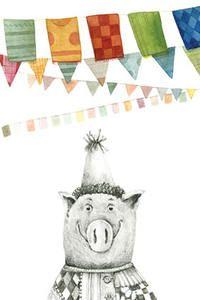 Kaart Piggie feest - O O, papierwaren & bureau - wenskaarten, wenskaarten - verjaardag, Per merk - O O