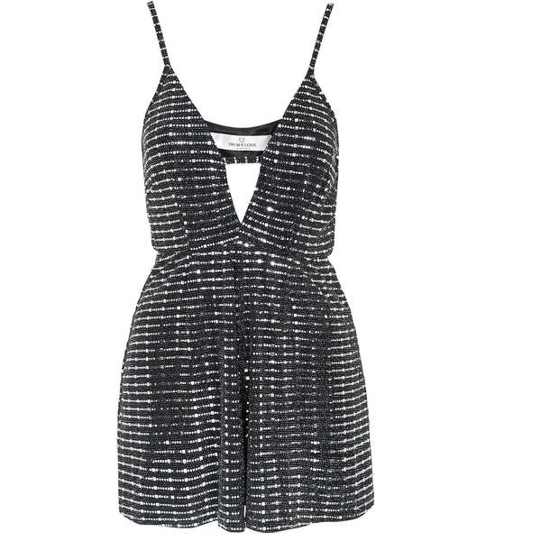 **Black And Silver Playsuit by Oh My Love (100 AUD) ❤ liked on Polyvore featuring jumpsuits, rompers, black, metallic romper, black rompers, playsuit romper and black romper