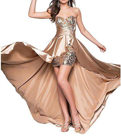 Plaer donna moda sexy party abito da sera vestito da sposa toast–damigella matrimonio a coda di rondine abito A models-Champagne gold 46