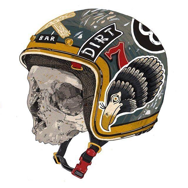Hell-met Enjoyed this one, it's not often I do digital colouring. #stickers #helmet #skull #illustration