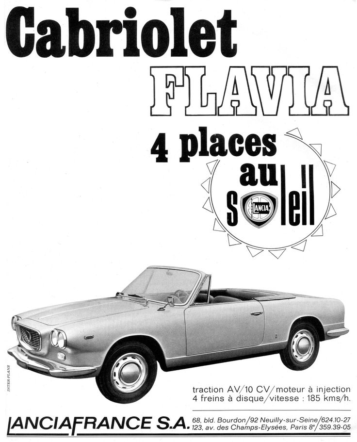 Lancia Flavia Cabriolet Advertisement From 1966, France