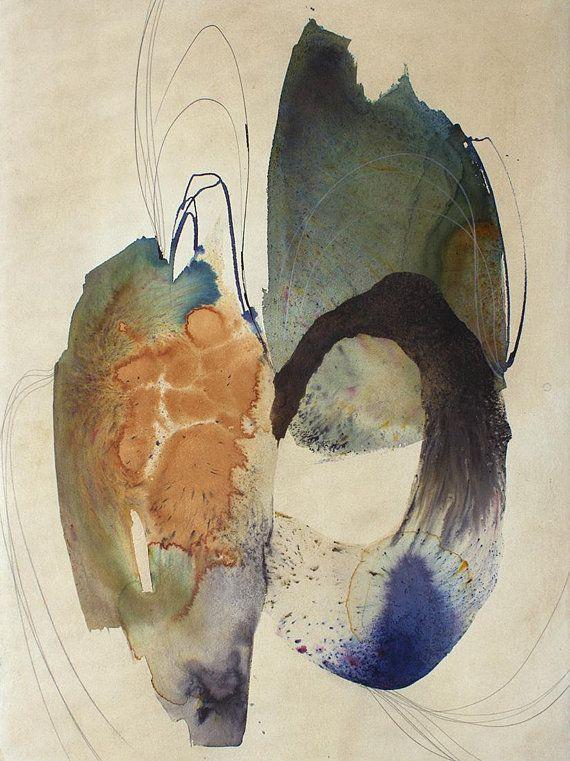 Grande Aquarelle Art Abstrait Abstraite Des Formes Art