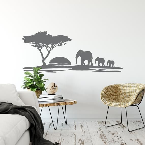 Elephants Wall Decal Safari Wall Sticker African Animal Etsy In 2020 Wall Decor Living Room Elephant Wall Decals Living Room Wall #safari #wall #decor #for #living #room