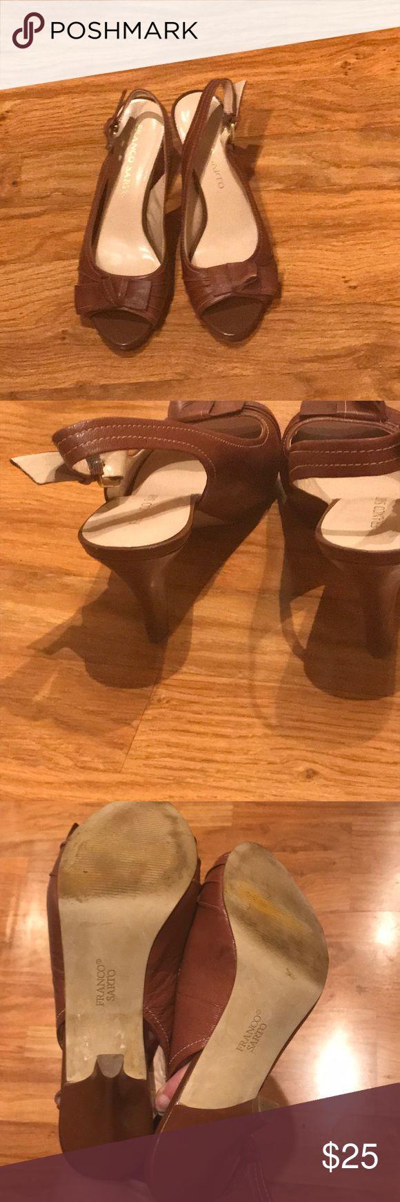 "Franco Sarto Astra Bow Peep Toe Heels Franco Sarto Astra size 7.5 Brown Bow Peep Toe Heels.  Heel is 3.5"". Franco Sarto Shoes Heels"