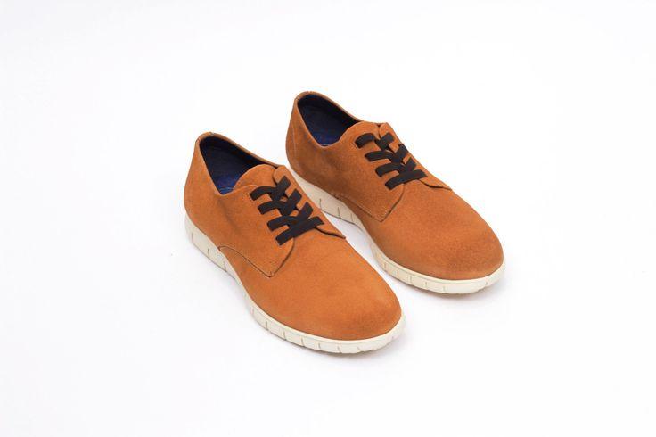 miMaO Urban 360 Whisky – zapato cómodo hombre plano extraligero cómodo piel ante marrón- Comfort men's flat shoes formal trainers brown suede  leather extralight