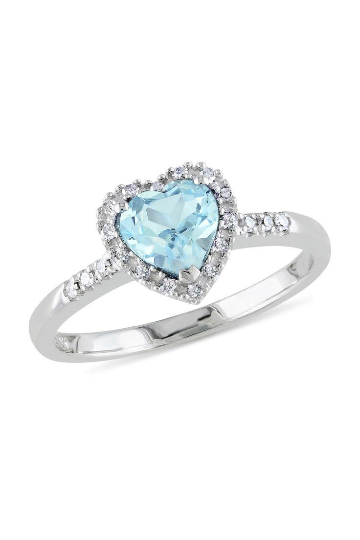 10K White Gold Pave Diamond & Blue Topaz Heart Ring Rings