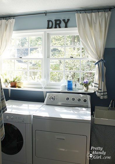 Plans to Update My Laundry Room with Flow Wall System - LOVE THE PAINT AND WINDOW TREATMENT!