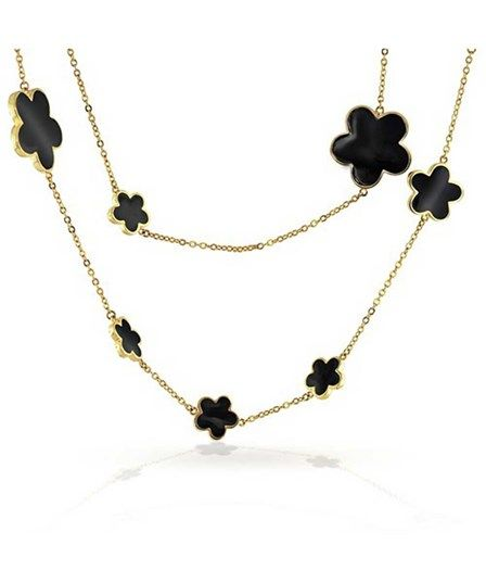 Bling Jewelry Bling Jewelry Plated Black Enamel Five Leaf Clover Flower Necklace 42in