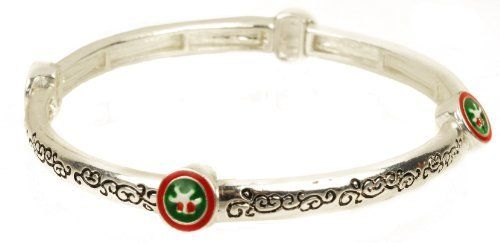 """Gifts on Christmas Day Silver Tone with Present Accents Stretch Bracelet 7.5"""" Amazon Curated Collection. $17.00. Made in China"""