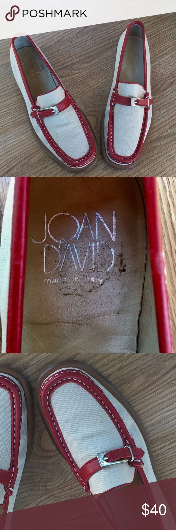 Joan & David Canvas & Red Leather Trimmed Loafers Great sporty red leather trimmed canvas Joan & David Loafers.  Cute red buckle with Signature closure.  Excellent condition! Joan & David Shoes Flats & Loafers