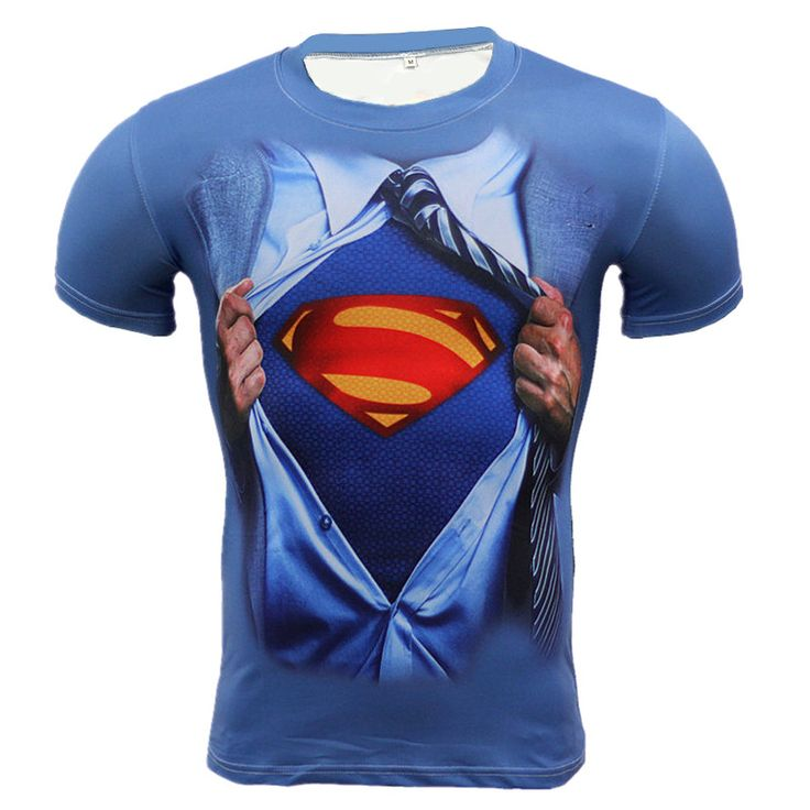 Spandex Superman 3D Muscle Shirt Fitness Slim Fit T Shirts Bodybuilding Muscle Top Superman Compression Shirt Streetwear
