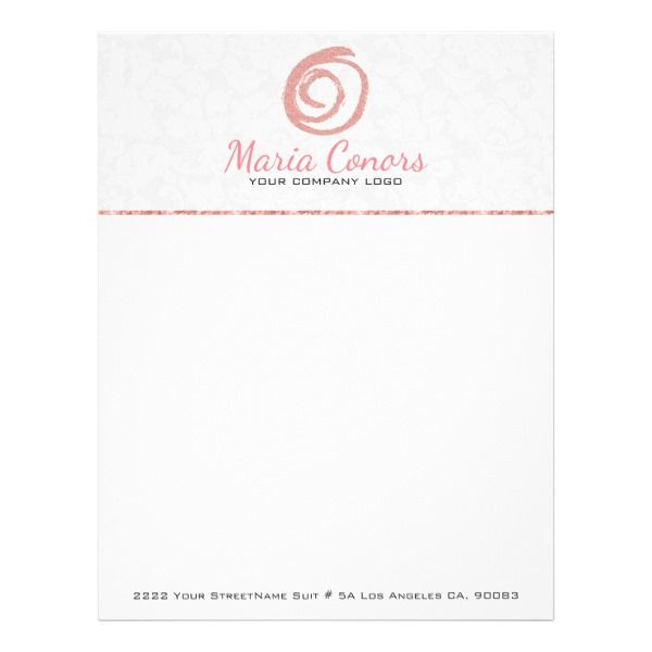 Rose Gold Logo White Damask Letterhead Custom office supplies #business #logo #branding