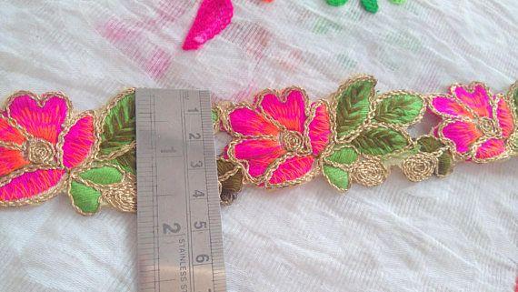 4858b867fca8 Gold & Pink Cut Work Embroidered Zari Indian Trim Saree Border ...