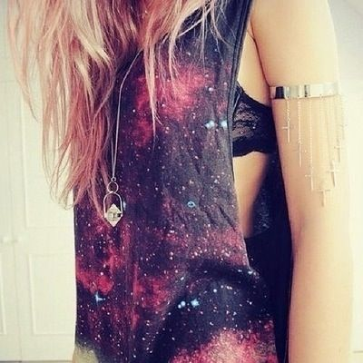 galaxy top and feather armcuff