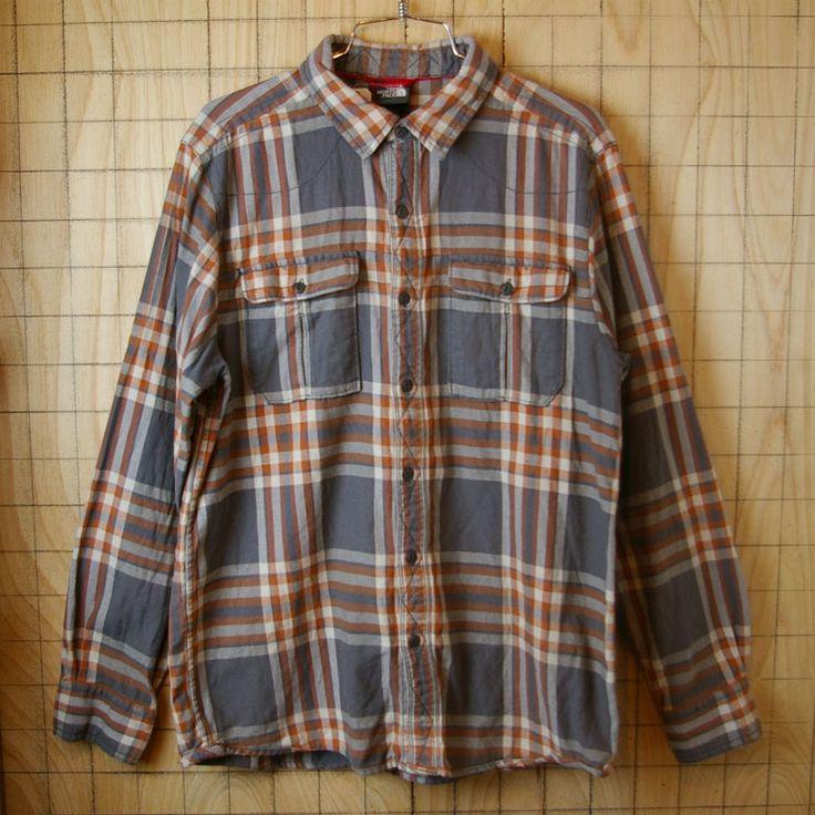 【THE NORTH FACE】古着ブラウン×グレー×ホワイトチェック柄オールドデザインコットンシャツ|メンズMサイズ