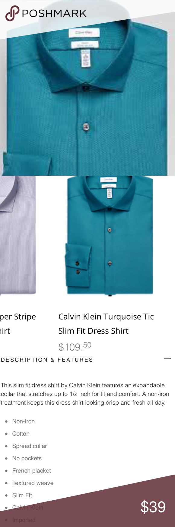 CALVIN KLEIN TURQUOISE TIC SLIM FIT DRESS SHIRT Absolutely gorgeous color! Extremely rich, vibrant, turquoise. Smoke colored buttons. Size 17 32/33. Slim fit, non-iron. 80's Two Ply. HANDSOME! Comes from a smoke free home. Bundle & save! Calvin Klein Shirts Dress Shirts