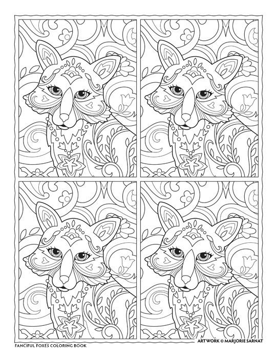 Creative haven fanciful foxes coloring book by marjorie sarnat lyrical fox coloring sheetsadult