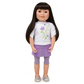 Maplelea Friend with long dark brown hair with bangs, medium-light skin, brown almond-shaped eyes
