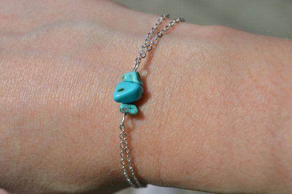 Turquoise Bracelet Dainty Silver Chain Bracelet Birthstone Jewelry 3 Stone…