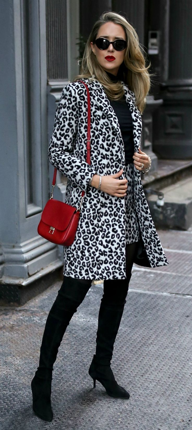 Classic Jewelry + Snow Leopard Coordinates  //  Leopard jacket, leopard mini skirt, black turtleneck, red shoulder bag, dainty silver bangle bracelets, black over-the-knee boots, black sunglasses {Maje, Stuart Weitzman, winter style, what to wear, festive