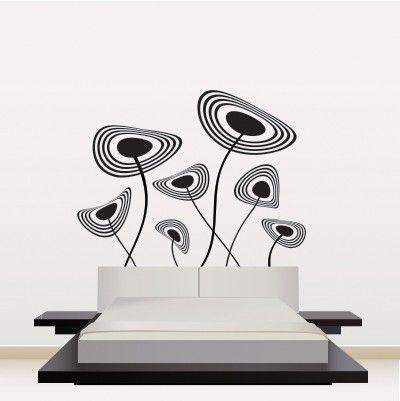 """Adesivo Murale - Fiori Moderni.  Adesivo murale di alta qualità con pellicola opaca di facile installazione. Lo sticker si può applicare su qualsiasi superficie liscia: muro, vetro, legno e plastica.  L'adesivo murale """"Fiori Moderni"""" è ideale per decorare la vostra camera da letto. Adesivi Murali."""