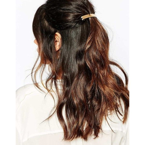 Suzywan DELUXE Gold French Barette Hair Clip ($12) ❤ liked on Polyvore featuring accessories, hair accessories, hair, hairstyles, cabelo, hair styles, beauty, gold, barrette hair clip and gold hair clip