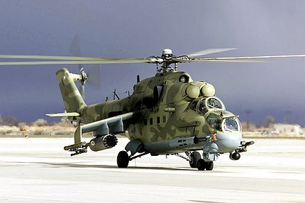 Mil Mi-24P, a later production variant of the Mi-24. These helicopters were used extensively in the Soviet war in Afghanistan.[12]