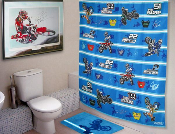 Boys bathroom bedroom curtains ktm moto x pinterest for Decoration ktm