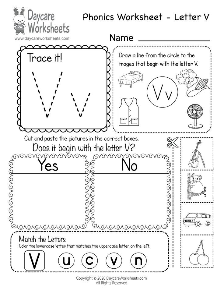 Free Letter V Phonics Worksheet for Preschool Beginning