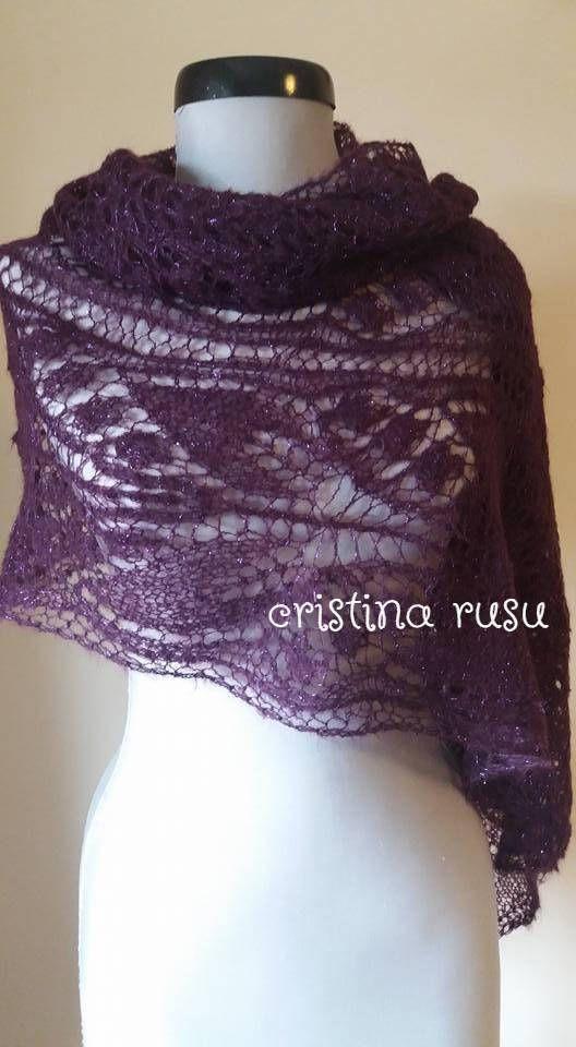 Plum lace shawl knitting shawl hand knitted lace stole