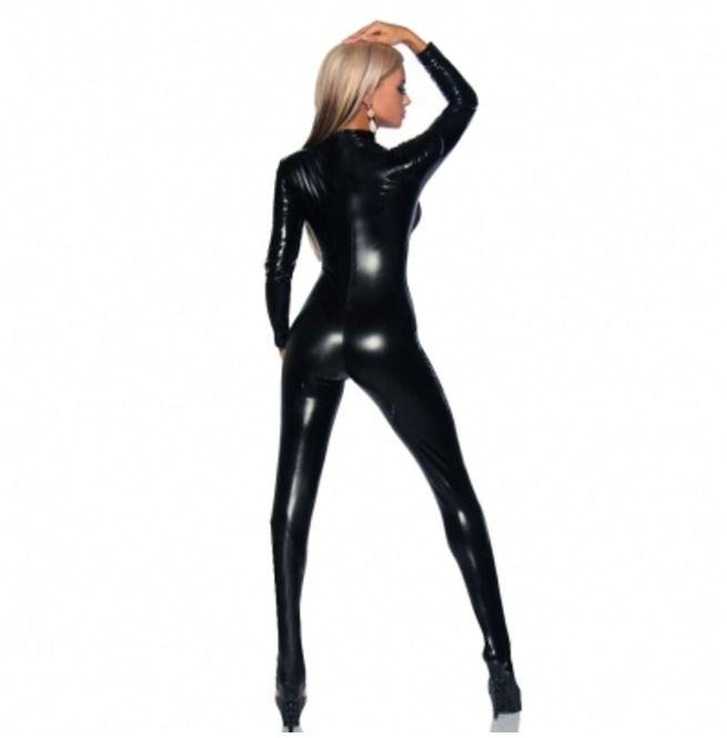 Rebelsmarket black wet leather look stretch pvc catsuit o s fetish bras 3