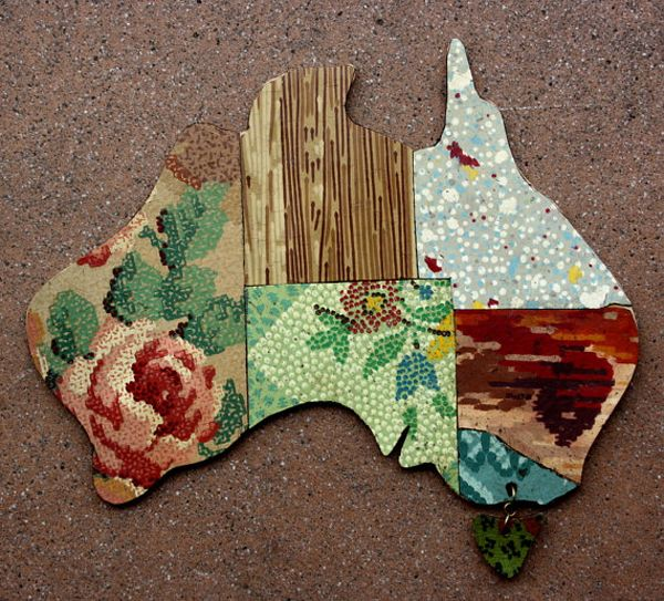 Betty Jo Designs :: Map of Australia art from vintage lino
