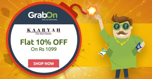 Grab Flat 10% OFF on amazing Women's Fashion collection at #KAARYAH this #Diwali! http://www.grabon.in/diwali-offers/  Yeh Diwali Hogi #BachatWaliDiwali