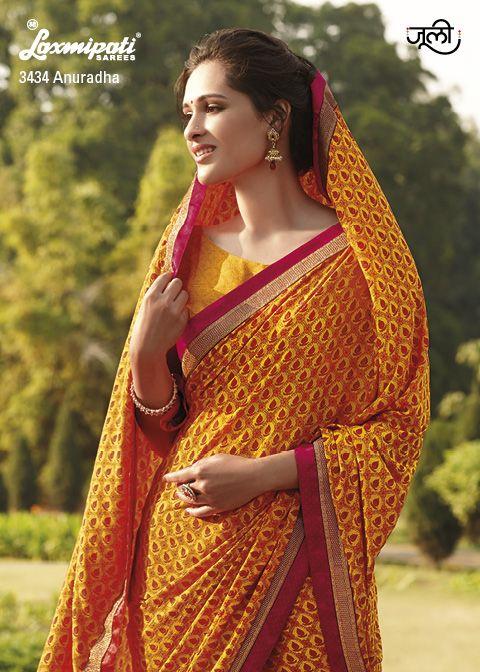Silk designed print on crape saree will capture your heart.