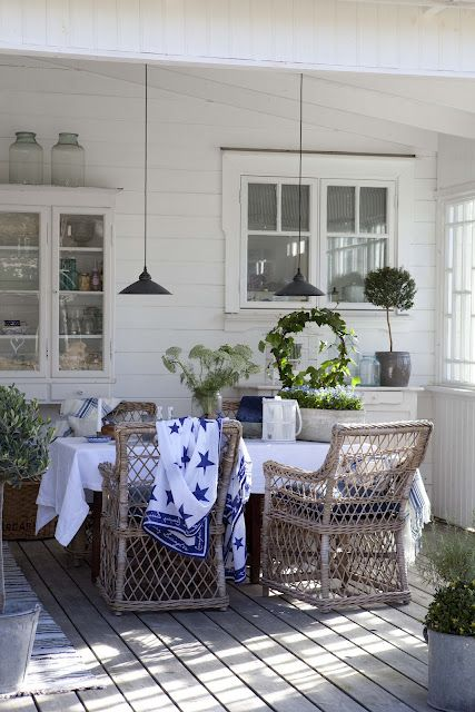 Porch in Blue & White, With Old Wicker, in the Country. Parquet