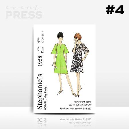 Dress Pattern Birthday Invitation   Event Press  Digital design can be found at www.ellenphantdesigns.etsy.com    Sewing pattern, craft, adult, 40, 50, 60, birthdays, invite, retro, vintage, 1960's