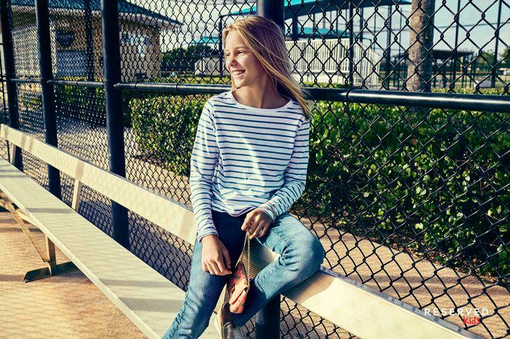 Reserved Kids SS16 #white&black#stripes#blouse#denim#pants#summer#style
