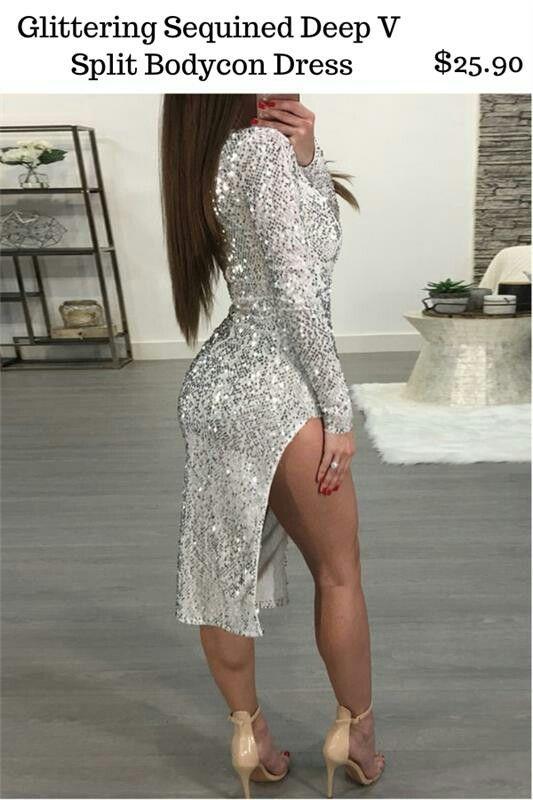 Glittering Sequined Deep V Split Bodycon Dress $25.90