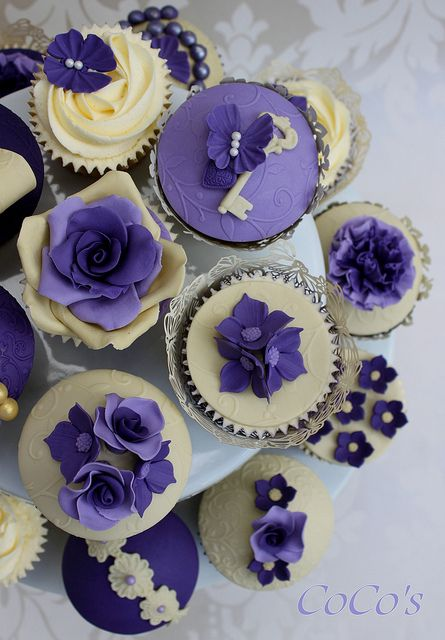 ivory and purple vintage cupcakes | Flickr - Photo Sharing!