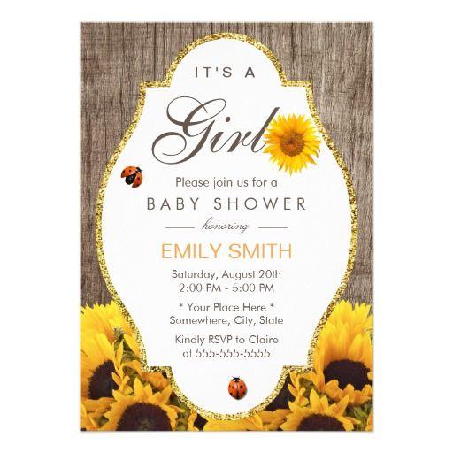 Baby Shower Rustic Sunflower Ladybug Country Girl Card · Tarjetas De Baby  ShowerInvitaciones ...