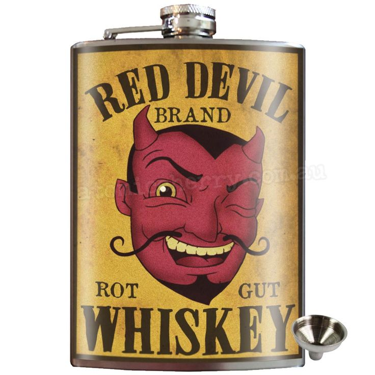 Red Devil Whiskey Stainless Steel Hip Flask