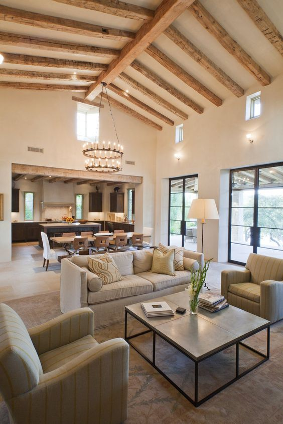 Great room: Open concept kitchen, living, dining room. Contemporary rustic. Pedernales | Ryan Street & Associates: