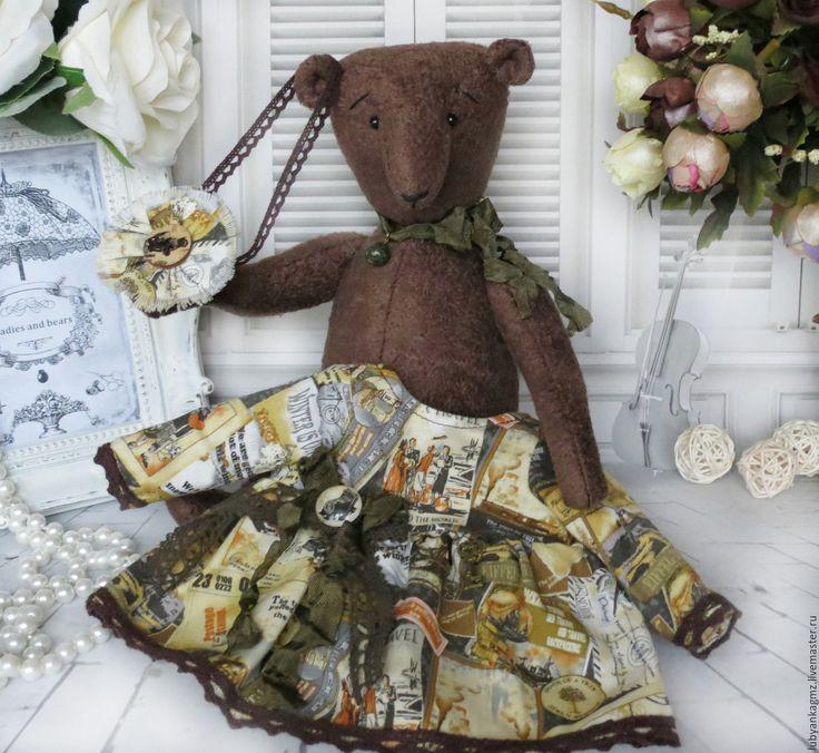 Купить Мишка Джейн любительница путешествий. Под старину. Ретро стиль - мишка коричневый медведь