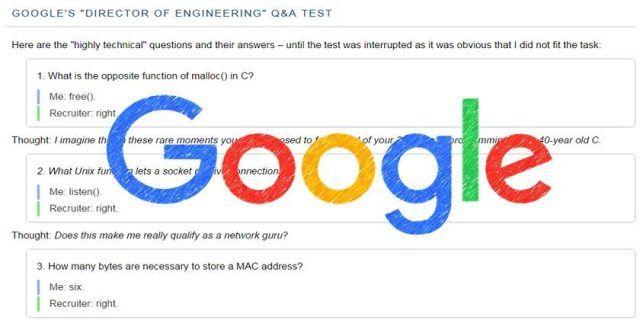 Google, yazılım mühendisliği başvurusunda sorulan sorular!