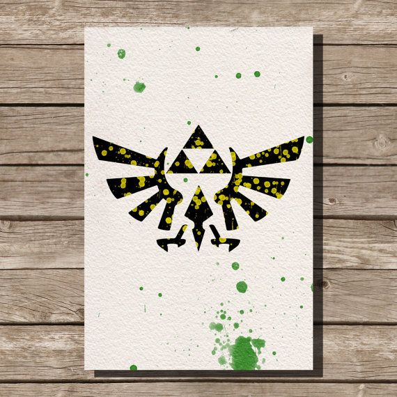 Legend of Zelda Triforce watercolor illustrations art children's room wall art art home decor nursery art sega video game on Etsy, $15.00