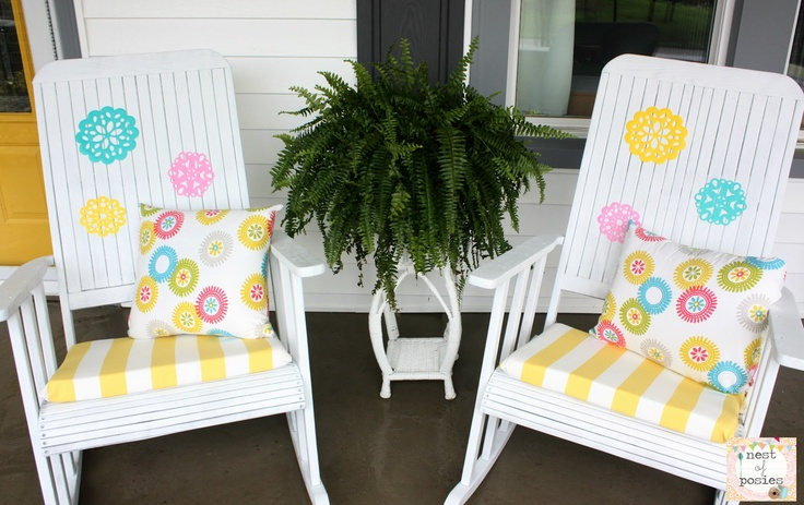 super pretty porch rocker redos from @Kellie~Nest of Posies: Rocking Chairs, Craft Activities, Summer Patio, Patio Makeover, Chair Makeover, Craft Ideas