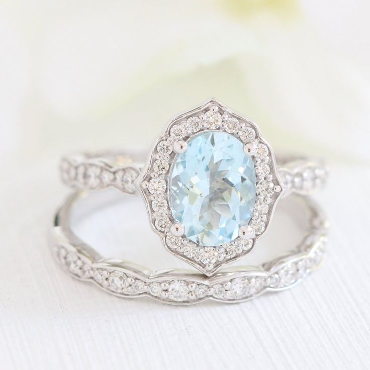 Oval Vintage Floral Bridal Set in Scalloped Band w/ Aquamarine and Diamond