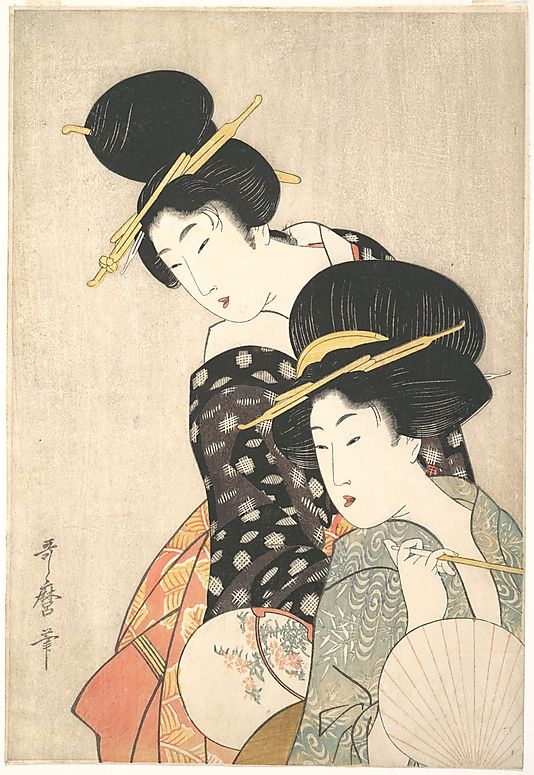 Two Women  Kitagawa Utamaro  (Japanese, 1753–1806)  Period: Edo period (1615–1868) Date: ca. 1790 Culture: Japan Medium: Polychrome woodblock print; ink and color on paper