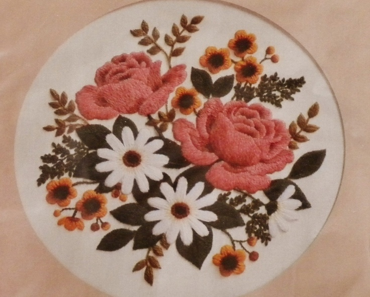 """Stitch a vintage  Mother's Day gift with this  Classic Bouquet Roses & Daisies   Crewel Embroidery Kit  Designed by Eugenia Parfionow  for Creative Circle New  in  Original Sealed Package  Vintage  Collectible from 1982 Finished size = 13"""" x 13"""""""