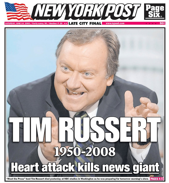 Vintage May 13, 2008, Tim Russert passes suddenly in NYC, www.RevWill.com